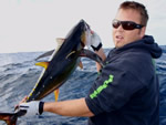 ANGLER: Damien Richards SPECIES: Yellowfin Tuna WEIGHT: Est. 10 Kg TACKLE: 24 Kg LURE: Evil Chopper